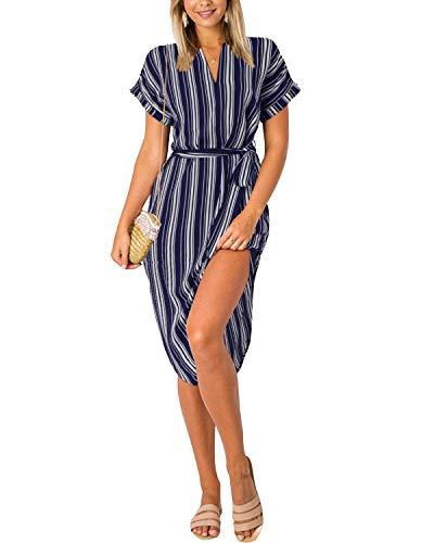 Yoins Damenkleid mit V-Ausschnitt, Blumenmuster, kurze Ärmel, Midi-Kleid, Sommerkleid, lässig, Kleid mit Schlitz Gr. L, Marineblau gestreift