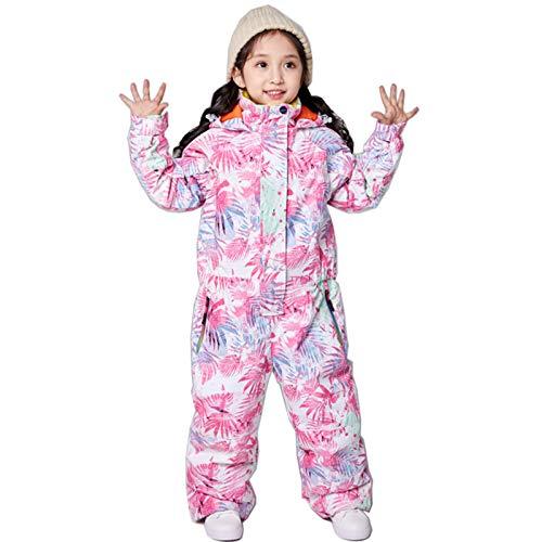 Caige Skianzug für Mädchen One-Piece Wasserdicht Warm Snowsuit Winter Outdoor Skifahren Jumpsuits Overalls,Rosa,90