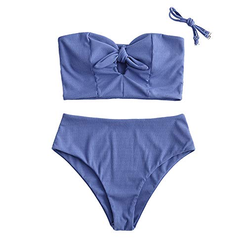 ZAFUL - Bikini da donna, senza spalline, motivo margherite, con lattuga di girasole, pizzo Blu- 1. L