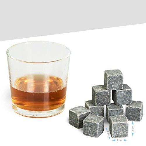 Grinscard Whiskysteine 9 STK. Wiederverwendbar - Grau Speckstein 2 x 2 x 2 cm - Kühlsteine für Party Hausbar Reisen - 2