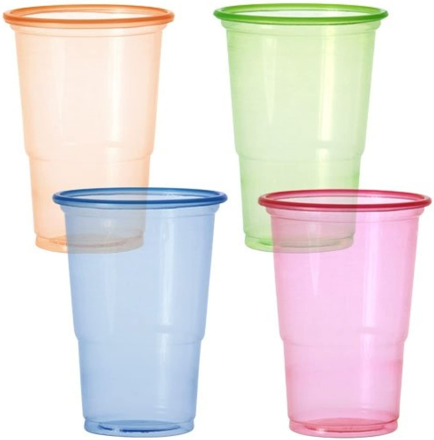 Party Dimensions 20 Count Plastic Cups, 10Ounce, Neonsorange, Pink, Green or, bluee