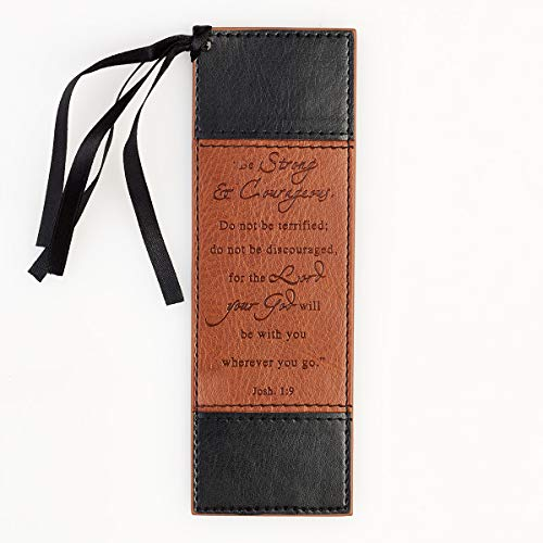 Christian Art Gifts Black and Tan Faux Leather Bookmark | Strong and Courageous - Joshua 1:9 Bible Verse Inspirational Bookmark for Men and Women w/Satin Ribbon Tassel