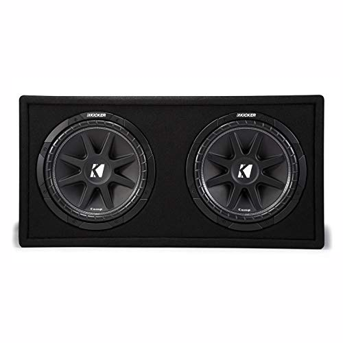 kicker car subwoofers KICKER 43DC122 12 Inch 600 Watt Comp Dual Car Audio Loaded Subwoofer Enclosure