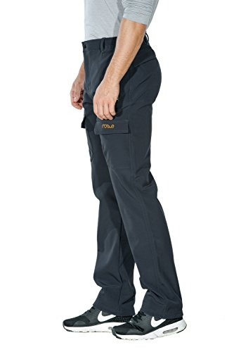 Nonwe Men's Warm Windproof Mountain Fleece Hiking Snow Pants Gray1 XL/34 Inseam