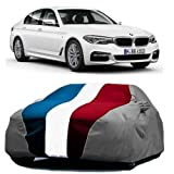 DRIZE Car Cover for BMW 520D with Triple Stitched Fully Elastic Ultra Surface Body Protection (Baklol Red Blue Gray with Mirror Pockets)