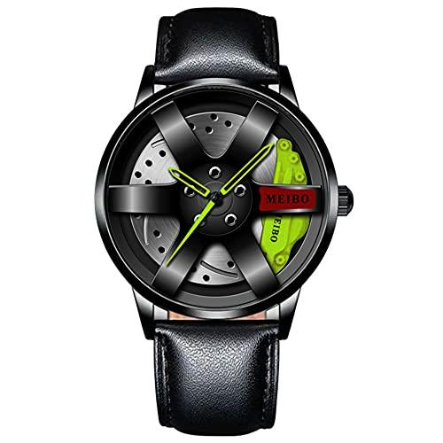 HEEYEE Top Reloj Marca Relojes de automóviles Hombres Deportes Cuarzo Relojes de Pulsera Impermeable Deporte Rim HUB Cuarzo Cuarzo Relojes para Hombre,Verde,C