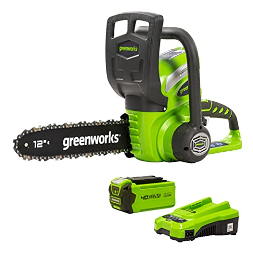 Greenworks 12-Inch 40V Professional Chainsaw for Cutting Firewood