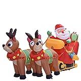 Aufblasbarer Weihnachtsmann Mit Schlitten LED Beleuchten Rentiere Weihnachten Santa Deko | Aufblasbares Weihnachtspuppen-Weihnachtsset Für Weihnachtsdekor