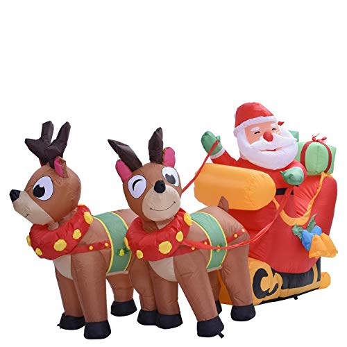 Stronrive Self-inflating Inflatable Santa Claus Sledge Sleigh Reindeer LED Outdoor Blow Up Christmas Holiday Decoration Décor