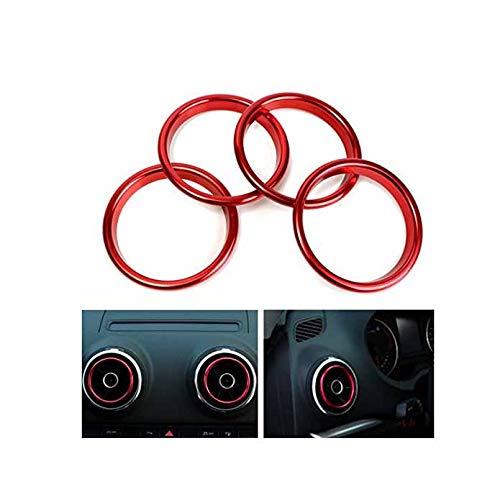 MOMOALA 4Pcs Anillos Decorativos del Mercado del Acondicionador De Aire Brillante Círculo Rojo para Audi A3