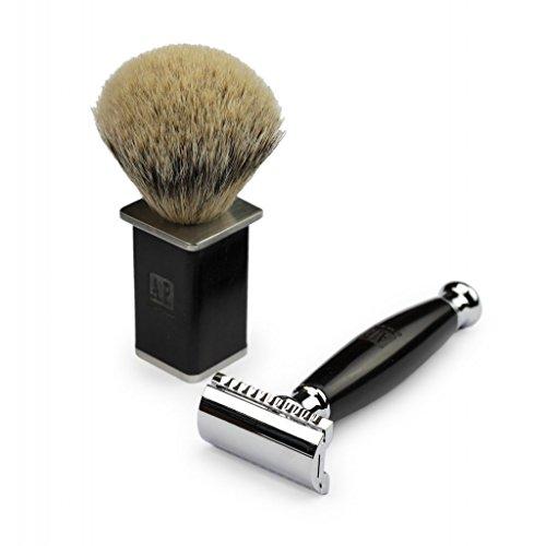 A.P. Donovan - manico arrotondato fatto di sandalo nero - - di lusso Razor Set pennello da barba Badger - nel caso di corsa - 3 pezzi