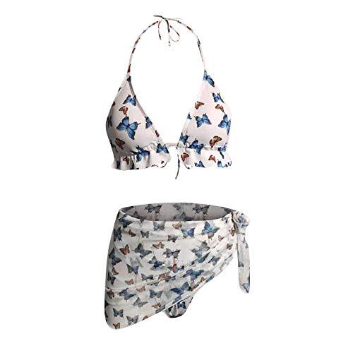 YANFANG Traje de baño de Bikini de Tres Piezas con Estampado de Mariposa Sexy para Mujer Traje de baño Halter, Ropa de Playa de Dos Piezas, Adecuado para Viajes, Vacaciones en la Playa