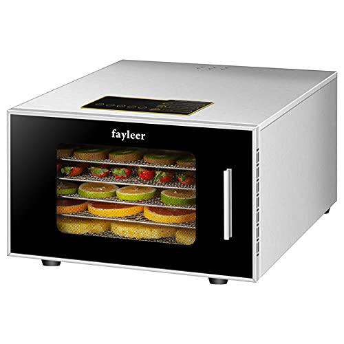 Essiccatore Frutta e Verdura con 6 Vassoi, fayleer Essiccatore Alimentare Acciaio Inossidabile TemperaturaRegolabile 30-90°C, 400 Watt + EXTRA: 1 x Vaschetta di raccolta