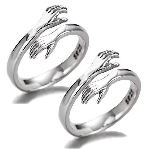 2PCS Anillo de plata de ley 925 para mujer, anillo abierto de plata con abrazo romántico para mujeres, hombres, joyería de pareja, tamaño de anillo ajustable 2PCS