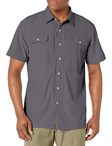 Little Donkey Andy Men's Lightweight Short Sleeve Shirt Quick Dry Stretch Shirt for Hiking Travel, UPF50 Gray Size XL