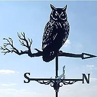 フクロウ風見鶏、金属風向スピナー、柱風向彫刻、庭や農場の装飾に使用,黒