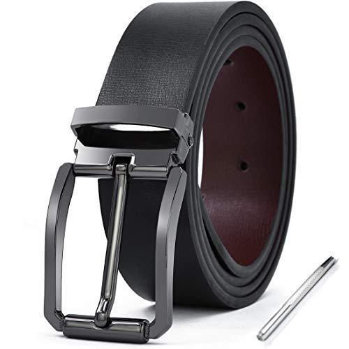 NEWHEY Leather Belt Man Leather Buckles Jeans Reversible Work Suit Belts Classic Black Brown 125CM