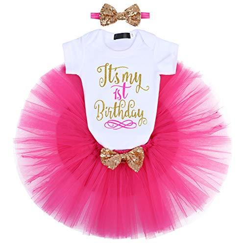 FYMNSI Baby Niña 1/2. / 1. / 2. Cumpleaños Party Outfit Algodón Corto + Tutü + Stirnband 3tlg Fotoshooting Kostüm Rosa para el primer cumpleaños. 1 Año