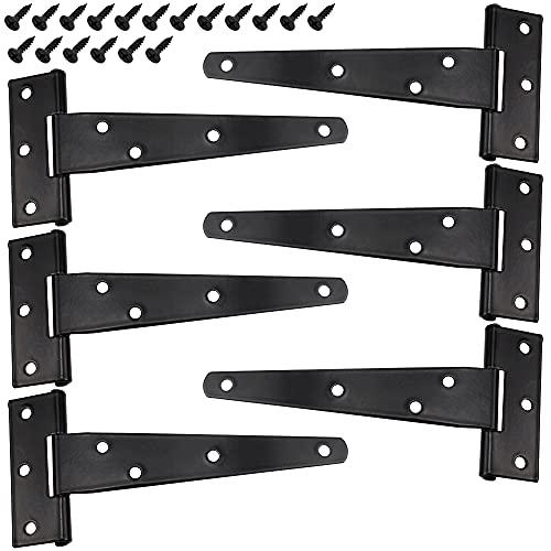 Bisagras en T Bisagras con Correa en T Bisagras de Metal para Puertas de Servicio Pesado con Tornillo para Puertas de Cobertizo Puertas de Granero Puertas de Entrada Puerta de Jardín - 6 pieza