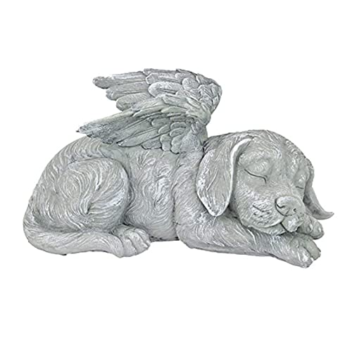 Bestomrogh Dog Angel Pet Statue, Resin Memorial Sleeping Dog Garden Ornaments, Animal Garden Sculptures Statues for Indoor Outdoor Art Decor