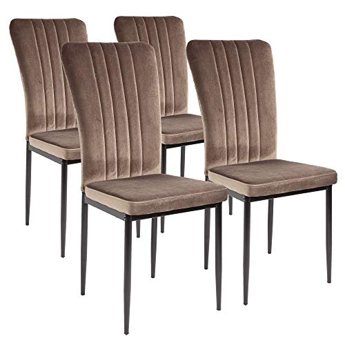 Silla de comedor Albatros Modena, Set de 4 sillas, marrón, certificada por la SGS