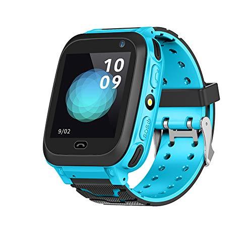 Goshyda Reloj Inteligente, localizador GPS inalámbrico, Reloj Inteligente para niños, niñas, Pantalla táctil, Reloj Inteligente para niños, Regalos de cumpleaños para niños de 3 a 15 años(Blue)