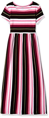 Gymboree Girls' Big Short Sleeve Casual Maxi Knit Dress, Pink/Black Stripe, M