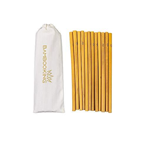 Bamboo King - Cannucce riutilizzabili in bambù, 12 pezzi, ecologiche, confezionate in sacchetto di cotone, 20 cm