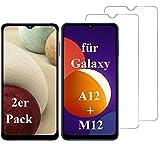 Smartphone Equipment (2er Pack) Panzerglas für Samsung Galaxy A12 / M12 Echt-Hartglas 9H Glasfolie Schutzfolie Glas Folie Panzerfolie Display Schutz