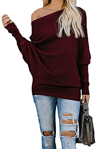 Exlura Women's Off Shoulder Batwing Sleeve Ribbed Shirt Loose Pullover Tops Burgandy