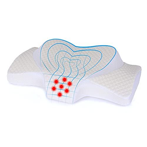 Topmener Almohada Cervical Viscoelástica Ergonómico para Aliviar de Dolor del Cuello con Puntos de Masaje y Diferentes Alturas, Funda Lavable - 63x38x8-13,5 CM, Suave en Forma de Corazón