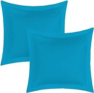 UNIVERS-DECOR Lot de 2 taies d'oreiller 65 x 65 cm Volant Plat piqué / 100% Coton / 57 Fils/cm² (Turquoise, 2 Taies d'orei...