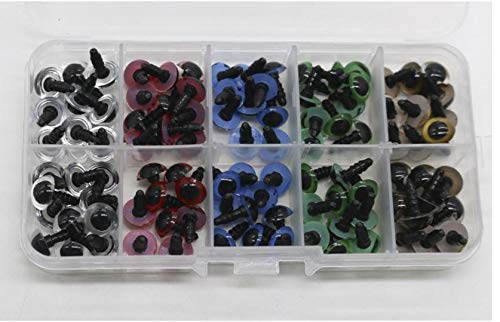 NX Garden 100 Pcs 12mm Colorful Plastic Safety Eyes and Gasket Safety Toy Eyes with Washers for Teddy Bears Soft Toys Snap Animal Dolls Toy Animal Puppet Felting Crafts