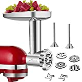 Stainless Steel Food Grinder Accessories for KitchenAid Stand Mixers Including Sausage Stuffer, Stainless...