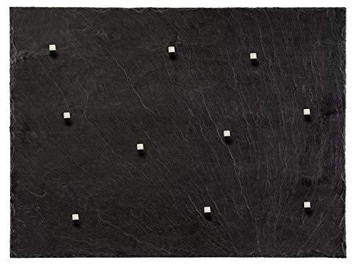 Board Boulevard Schiefer Magnettafel (Echt Massiver Stein) ! 60 cm x 45 cm - Pinnwand Kreidetafel inkl. 10 Magnete - 350-500 Millionen Jahre Alter Schiefer aus Spanischem Bergbauvorkommen