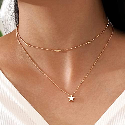 Branets - Collana girocollo semplice con ciondolo a forma di doppia stella, in oro, per donne e ragazze