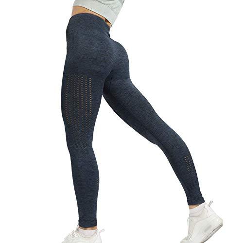 DEEWISH Damen Yoga Lange Leggins, Bauchkontrolle Leggings für Frauen Blickdicht Yogahose Fitnesshose mit hoher Taille Sporthose Mesh-Aushöhlen
