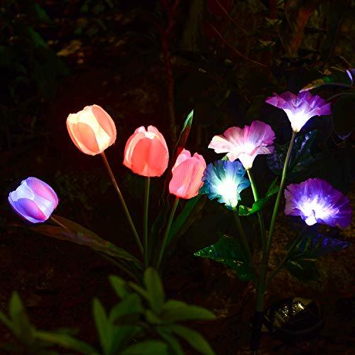 Doingart Outdoor Solar Garden Lights - 2 Pack Solar Powered Lights, Multi-Color Changing LED Solar Stake Lights for Garden, Patio, Backyard (Tulip and Morning Glory Flower)