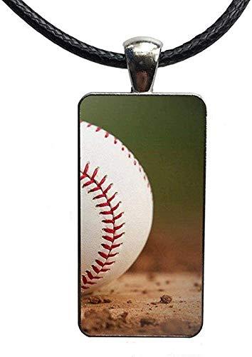 LBBYMX Co.,ltd Collar de Moda Deportes Cancha de béisbol Novedad Fundas Cabujón de Cristal Colgante Rectángulo Collar Gargantilla Collar Joyería para niñas Regalos