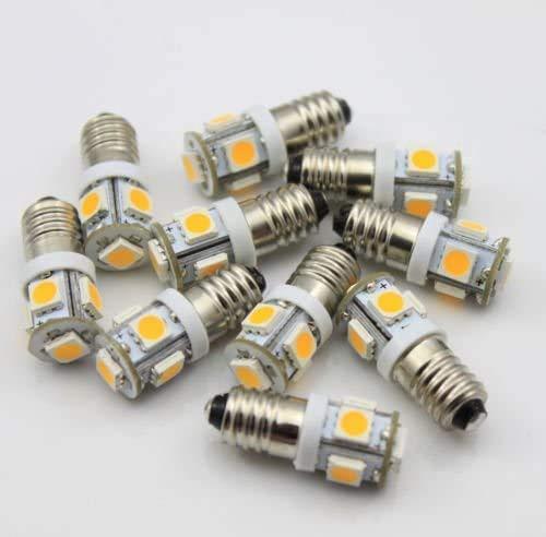 Lot de 10 ampoules LED E10 6 V AC DC 5 SMD à vis Blanc chaud
