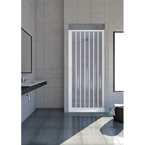 Cabina de ducha de 70 cm, modelo Jada extensible de PVC, puerta única con paneles semitransparentes, apertura lateral con fuelle de color blanco