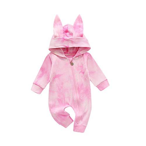 Julhold Babykleidung Set Baby Mädchen Kleidung Outfit 1-teiliges Strampler Reißverschluss Niedlichen Hase Ohr Hut Für Kinder Body Strampler Overall Kleidungs 0-24 Monate(Rosa,70)