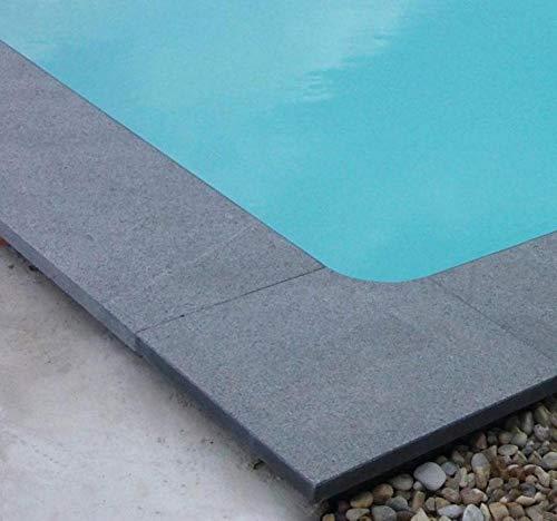 KWAD Beckenrandsteine Padang Dark rechteck Komplettpaket 3,50m x 7,00m / 350 x 700 cm Randsteine Pool Rechteckpool