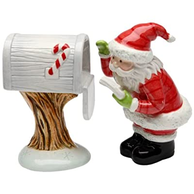 Santa Looking Mail Box Ceramic Salt and Pepper Set