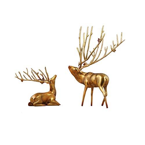 Escultura Ornamentos Decoraciones de ciervos de cobre Un par de estatuas de ciervos de cobre puro Luz creativa Estilo de lujo Estilo de estar Entrada Mueble de televisión Decoración de la habitación D