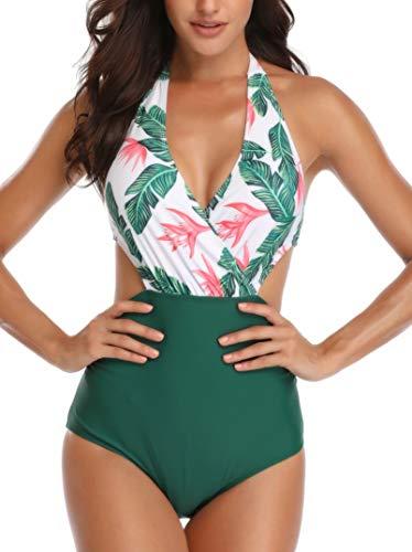 Dolphinfly Costume da Bagno Interi Monokini con Push-Up Elegante Bikini Beachwear da Mare Spiaggia Piscina(Verde L)