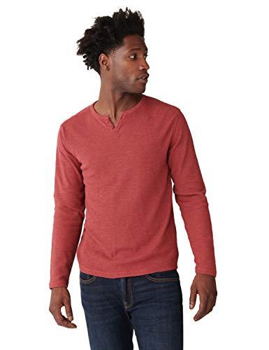 Lucky Brand Men's Long Sleeve Button Notch Neck Slub Thermal, Barn Red, XL