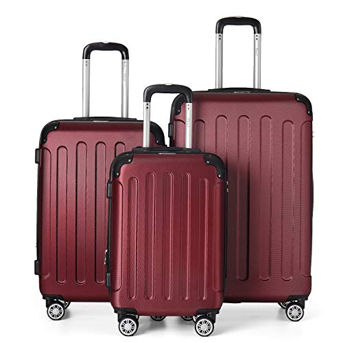 Flexot 2045 3er Reisekoffer Set - Farbe Rubin Rot Größe M L XL Hartschalen-Koffer Trolley Rollkoffer Reisekoffer 4 Rollen