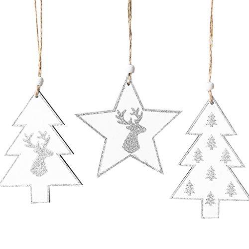 HSKB Kersthanger, sneeuwvlok, hout, kerstdecoratie, raam, cadeauhangers in dennenboomvorm/mooie boomversiering aan de kerstboom/raam of deurstek