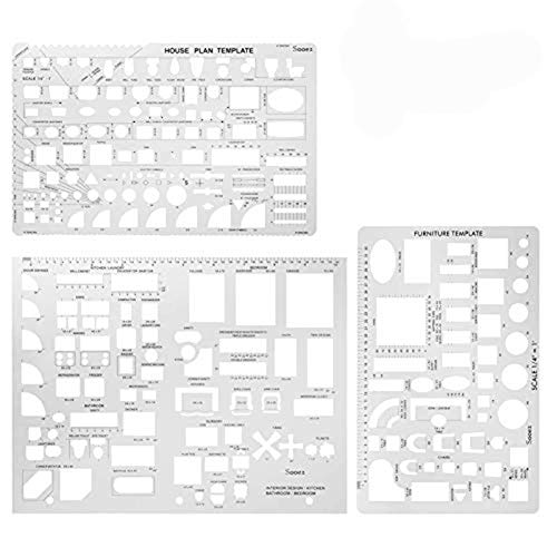 Sooez Architectural Templates, House Plan Template, Interior Design Template, Furniture Template, Drawing Template Kit, Drafting Tools and Supplies, Template Architecture Kit, 1/4 Scale
